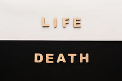Word Life and Death on contrast background Royalty Free Stock Photo
