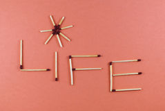 Word Life made of matchsticks Stock Photography
