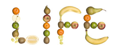 The word 'Life' made out of fruit Royalty Free Stock Image