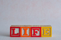 The word life spelled with colorful blocks isolated Stock Photography