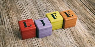 Word Life on wooden blocks. 3d illustration Royalty Free Stock Photos