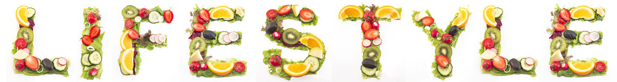 Word lifestyle made of salad and fruits Stock Photography