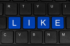 The word like made of four blue buttons Royalty Free Stock Images