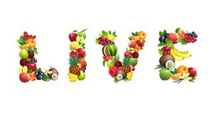 Word LIVE composed of different fruits with leaves Stock Photo