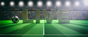 Text LIVE on a soccer football field background. 3d illustration. Word LIVE on a soccer football field background. 3d illustration Royalty Free Stock Image