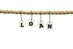 The word loan in alphabet letters on a rope Stock Photo