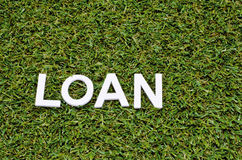 Word loan green made from wood on artificial grass Royalty Free Stock Images