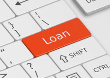 The word Loan written on the keyboard Royalty Free Stock Images