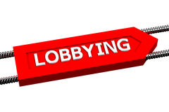 Word lobbying the arrow isolated on white background. Word lobbying the arrow, isolated on white background. 3D render Royalty Free Stock Images