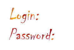 The word `Login, Password` written in watercolor Royalty Free Stock Photography