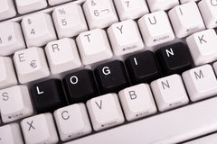 Word Login written with black keys on computer Stock Photos