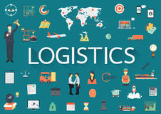 Word LOGISTICS with big set of involved flat icons around. Royalty Free Stock Photo