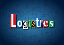 The word Logistics made from cutout letters. On a blue background Royalty Free Stock Photography