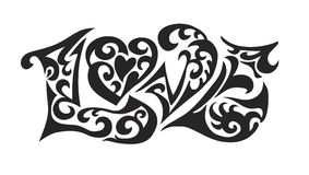 Word logo love tatoo. A decorative logo with an image of a word love