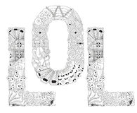 Word LOL for coloring. Vector decorative zentangle object Royalty Free Stock Image
