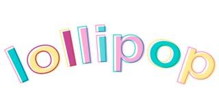 Word Lollipop minimalistic style colorful letters vector candy logo symbol Lollipop. Word Lollipop minimalistic style colorful letters vector candy logo symbol Stock Photos
