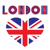 Word London and heart - Flag of the Great Britain. Trendy geometric font. Text and heart isolated on a white background Stock Photo