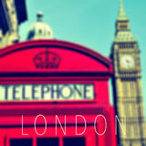 The word London and a red telephone booth and the Big Ben Stock Photography