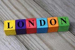 Word London on wooden colorful cubes Royalty Free Stock Photos