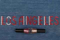 Word Los Angeles, made of rhinestones, encrusted on denim. World Fashion. Royalty Free Stock Images