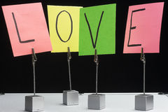 Word love. Written on color notes Royalty Free Stock Photography