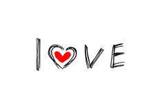 Word LOVE with abstract heart Royalty Free Stock Image
