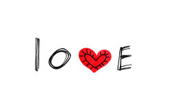 Word ``Love`` with abstract heart on white background Royalty Free Stock Photography