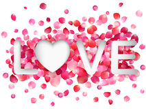 Word Love on a background of pink rose petals. Royalty Free Stock Images