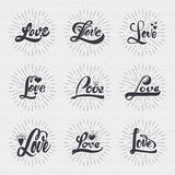 Word love badge lettering of emblem can be used to design greeting cards, posters, magazines invitation wedding. Love calligraphic inscriptions for greeting Royalty Free Stock Images