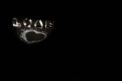 The word love on a black background Royalty Free Stock Photography