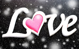 The word love on a black background Royalty Free Stock Images