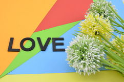 Word love black color with artificial flower on orange, red, blue and green background Royalty Free Stock Photo