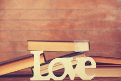 Word love and books Royalty Free Stock Photos