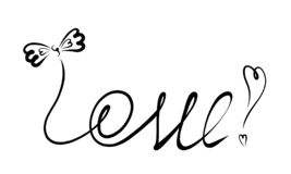 The word LOVE with a bow on the letter L vector illustration
