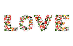 Word LOVE. Built with colourful flowers and leaves stock illustration