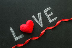 The word love on the chalkboard Royalty Free Stock Photo