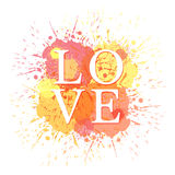Word love and colored blots. Vector illustation Stock Image