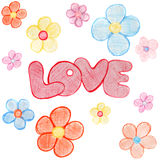 Word love with colored pencils and cheerful Stock Photography