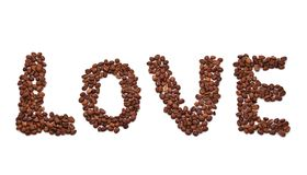 Word love composed of coffee beans. Isolated on white background Royalty Free Stock Photos