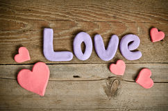 Word Love composition and hearts Royalty Free Stock Photo
