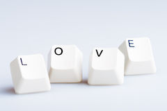 Word LOVE on computer keyboard's  buttons. Stock Photo