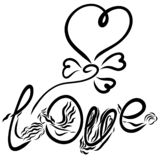 Word LOVE, creative inscription, flying balloon in the shape of a heart.  royalty free illustration
