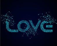 Word love on a dark background, vector illustration stock photo