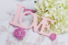 Word love and decoration details over white, Royalty Free Stock Photography