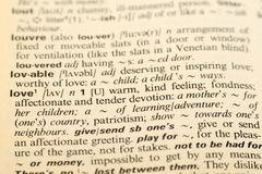 Word Love in a dictionary Royalty Free Stock Photos