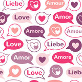 Word LOVE in different languages with speech bubbles seamless pattern Royalty Free Stock Photo