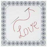 The Word Love, Embroidered With A Needle And Thread. Vector Illustration. vector illustration