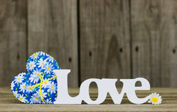 The word Love with fabric heart and daisy Stock Image