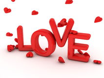 Word love and falling hearts Royalty Free Stock Photo