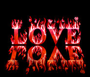 Word love in flames in red and pink Stock Photo